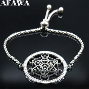 Yoga Hindu Buddhism Flower of Life Crystal Stainless Steel Chain Bracelet for Women Silver Color Necklace Jewelry cadenas mujer(China)