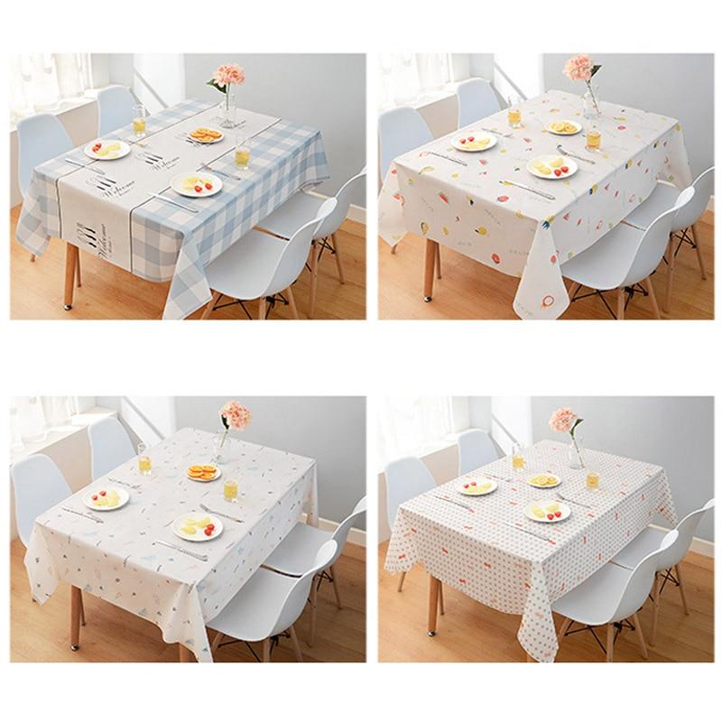 Toalha de mesa impermeável pvc retângulo toalha de mesa decoração para casa estilo nórdico multi finalidade peixe/fruta/folha/treliça 137*180cm/90cm