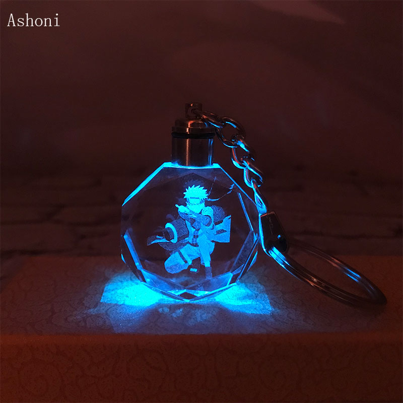 Anime Naruto Keychain K9 Crystal Pendant Key Chain Laser Engraved Flash Color Changing Led Light Chain Keyring Kids Gift