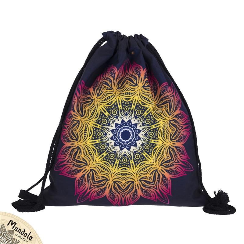 New Fashion Women Drawstring Bag 3D Printing Travel Softback Women Mochila School Student Drawstring Backpack Datura Rope Bag