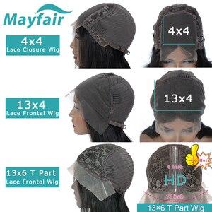 Image 3 - Mayfairストレート人毛ボブレースフロント黒人女性のための非レミーの髪エクステンションスイスレーストップレースかつら