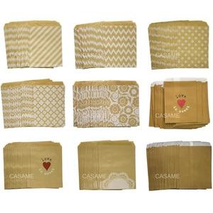 50 шт./лот высокое качество, вечерние бумажные пакеты с узором в горошек, в полоску, бумажные пакеты для изготовления хлебобулочных изделий