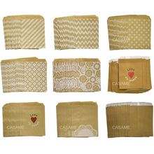 50 יח\חבילה לטפל ממתקי תיק שקיות נייר לטובת מסיבת באיכות גבוהה שברון מנוקדת פס מודפס נייר קרפט שקיות מאפיית שקיות