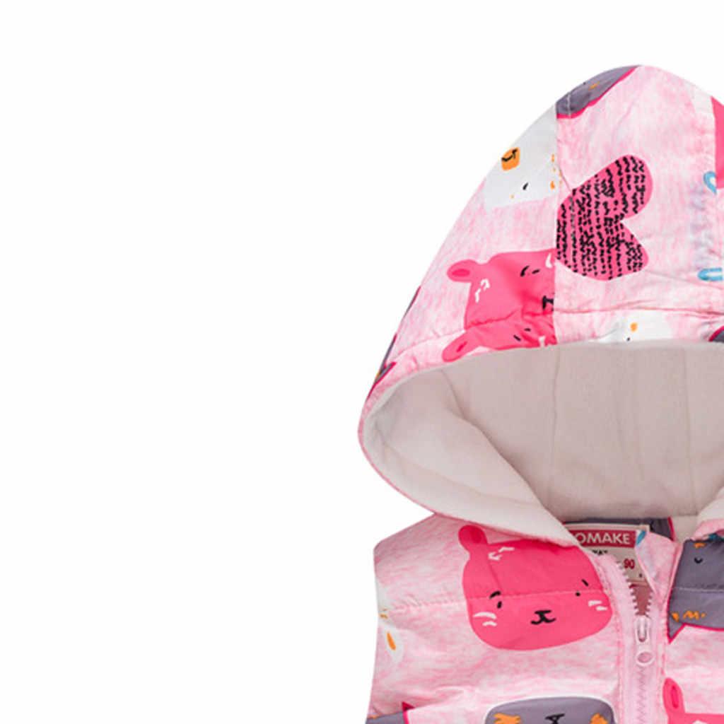 Autumn Warm Kids Vests Waistcoat For Boys Girls Cotton Dinosaur Outerwear Winter Baby Boy Coats Sleeveless Hooded Jackets Gilet