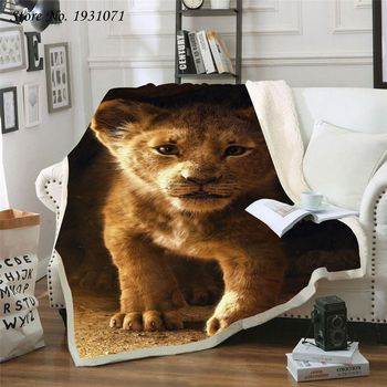 Lion King 3D Printed Fleece Blanket for Beds Thick Quilt Fashion Bedspread Sherpa Throw Blanket Adults Kids 07