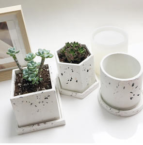 Cement Flower Pot Mold Silicone Molds for Terrazzo Pot Concrete Round Pot Molds