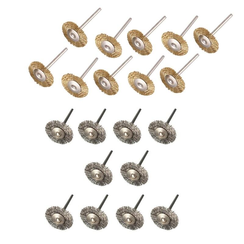 20 pièces brosses fil brosse disque brosse ronde 25Mm diamètre pour Dremel-10 pièces inox & 10 pièces laiton