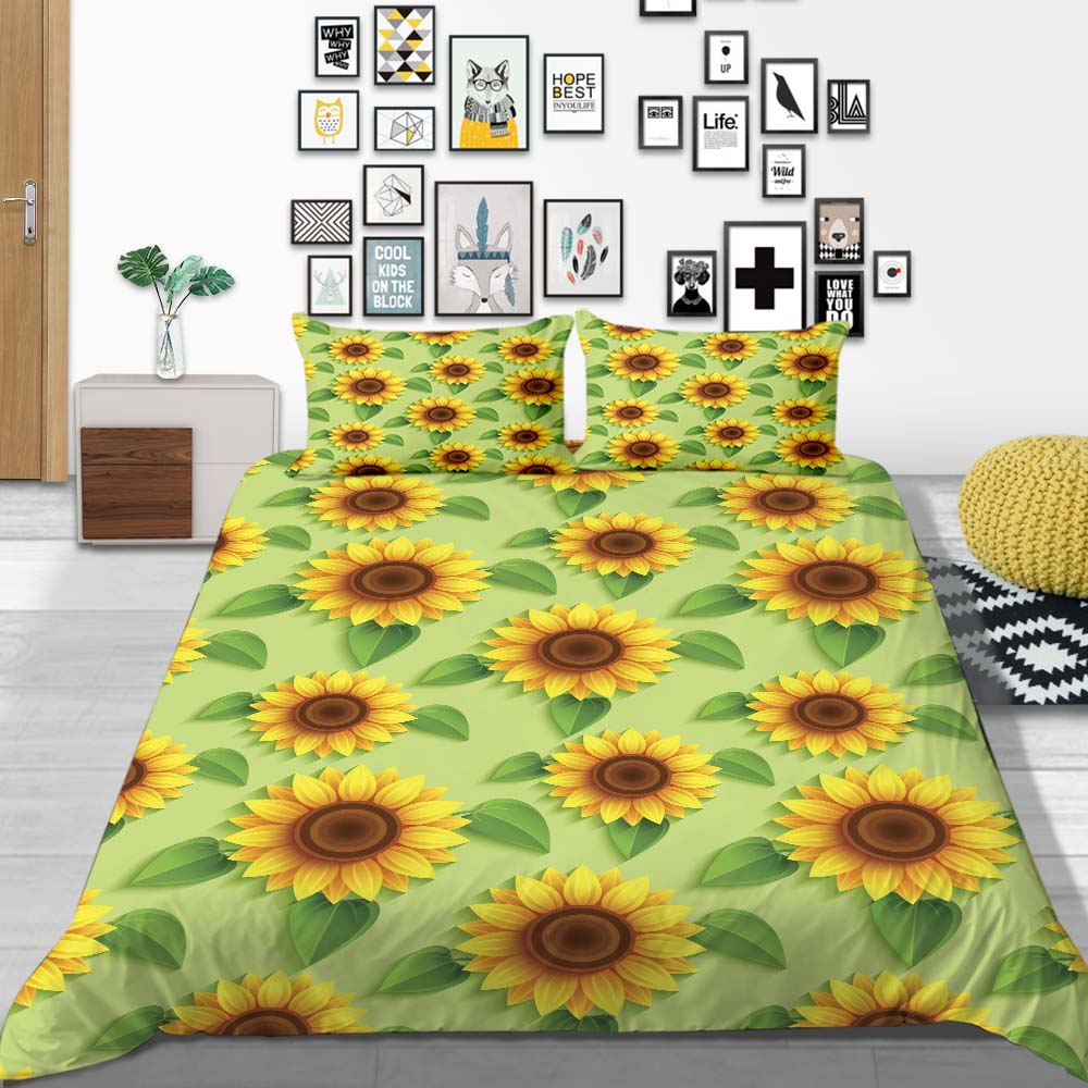Thumbedding Sunflower Bedding Set 3D Printed Popular Duvet Cover Green King Queen Twin Full Single Double Comfortable Bed Set