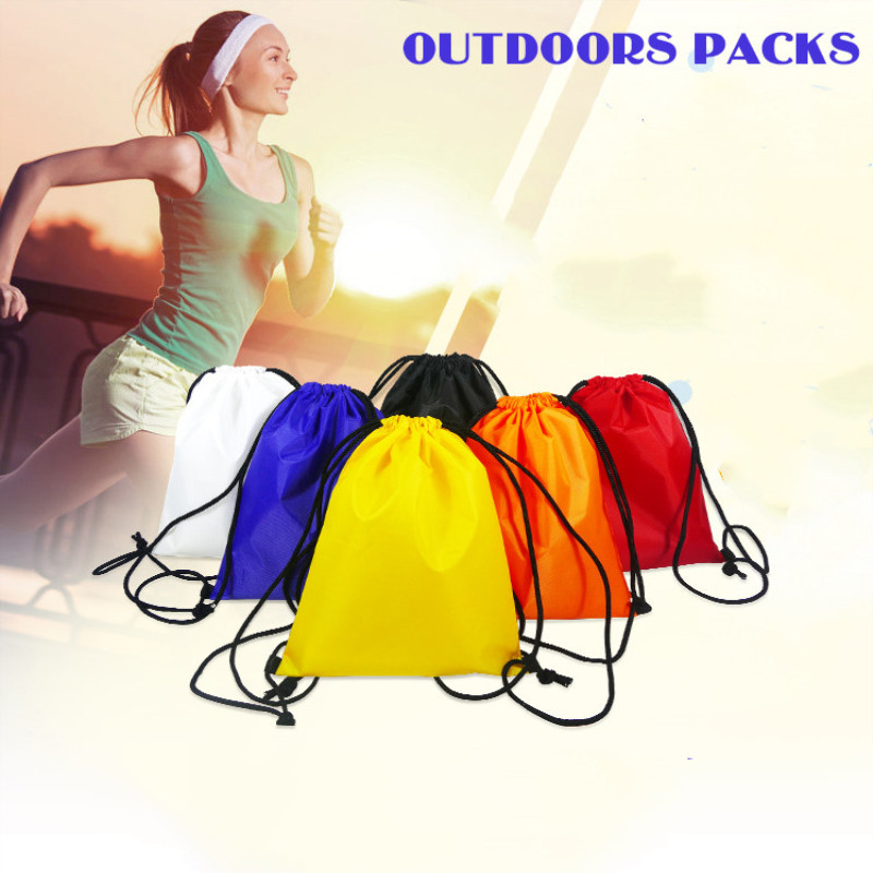 Polyester Pocket Drawstring Bag Waterproof  Solid Color Package Travel Clothes Luggage Shoe Storage Organize Bag Toiletry Bag