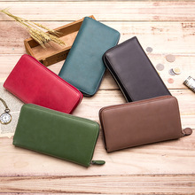 New Genuine Leather Credit Card Holder Women Clutch Cowhide Purses Long Phone Bag Wallet with Zipper Coin Pocket 36 Card Slots