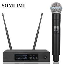 Новинка! QLXD4 Высокое качество UHF профессиональный двойной беспроводной микрофон Система сценические выступления два беспроводных микрофона