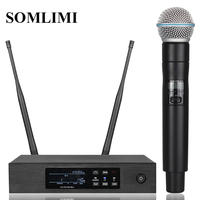 New!QLXD4 High Quality UHF Profeesional dual Wireless Microphone System stage performances a two wireless microphone