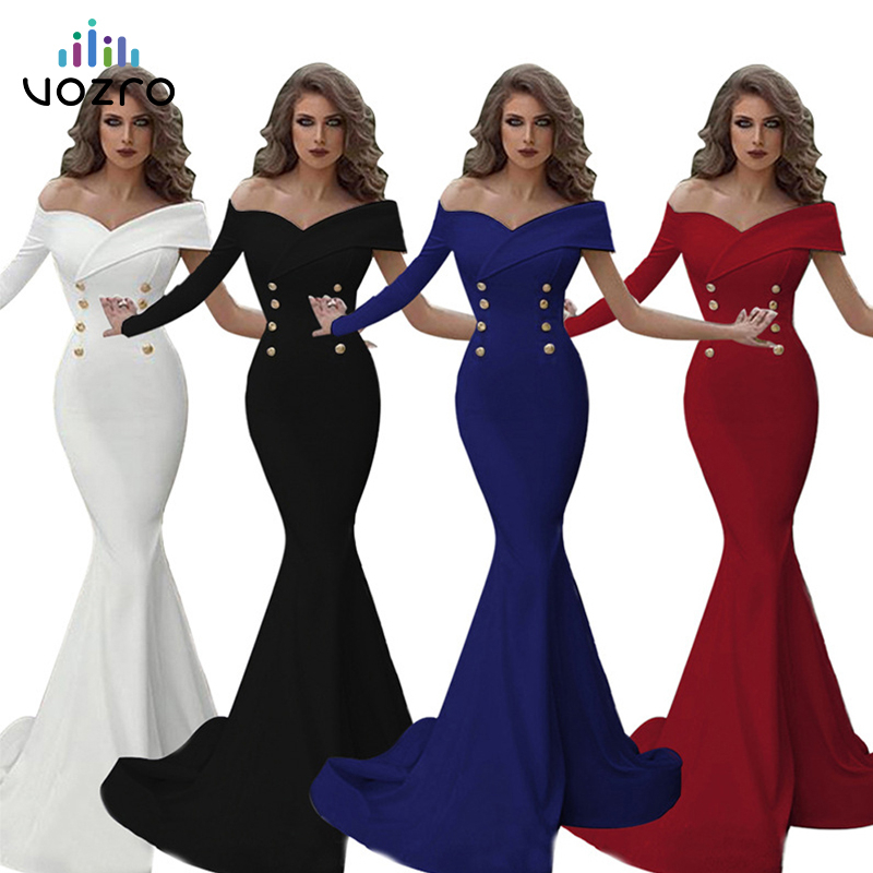 VOZRO Both Row Buckle Full Maxi Dress One Shoulder Unilateral Sleeve Package Buttocks Fish Tail Banquet Suit-dress