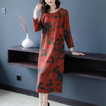 Sale 4XL Plus Size Vintage Floral Silk Midi Dresses 2020 Fall Winter Korean Long Sleeve Dresses Women Elegant Bodycon Party Vestidos — stackexchange