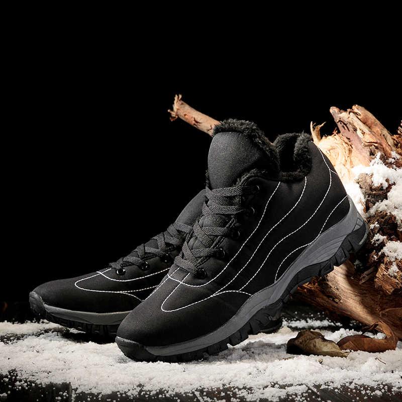 2019 คู่ใหม่ข้อเท้ารองเท้าพลัสขนาด 35-46 ลูกไม้ขึ้น Snow BOOTS ชายยางฤดูหนาวกันน้ำรองเท้าสำหรับชาย