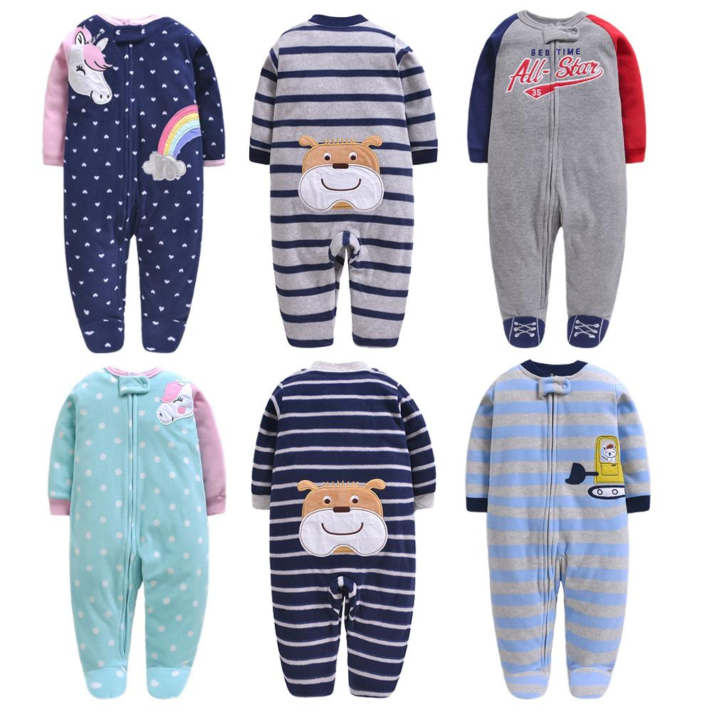Newborn Baby Autumn Jumpsuit Infant Boys Girls Cartoon Unicorn Clothes Long Sleeved Fleece Footie 3M-12M Printed Outfit Pajamas