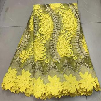 Latest Yelllow Embroidery French Tulle Lace Fabric 2019 High Quality African Dry Lace Fabric With Stones 5 Yards Lace Fabric