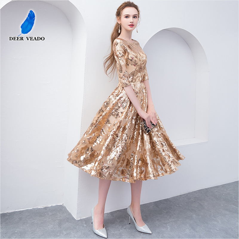 DEERVEADO Tea Length Short Evening Dress 2019 Gold Sequin Half Sleeve Formal Dress Party Evening Gown D259
