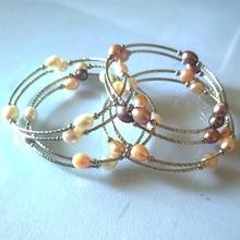 YKNRBPH Womens Adjustable Rice Pearl Bracelet  Silver wedding Fine Jewelry Chairm Bracelets 6-7MM