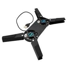 Настольная подставка для ноутбука с двойным охлаждающим вентилятором, подставка для ноутбука, складная подставка для USB, черный цвет