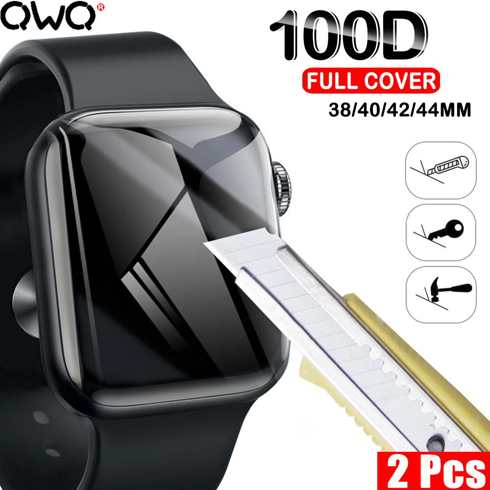 100D Full Cover Screen Protector Hydrogel Film For Apple Watch 4 5 40MM 44MM Soft Film For Apple Watch 3 2 1 38MM 42MM Not Glass