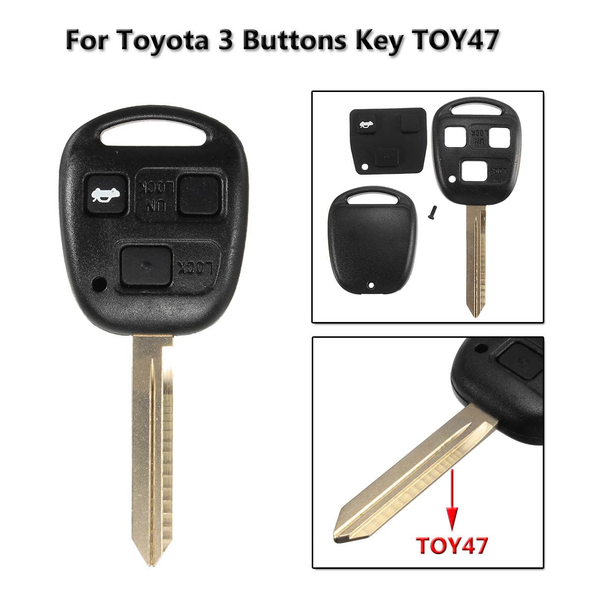 3 <font><b>Button</b></font> <font><b>Remote</b></font> <font><b>Key</b></font> Case Fob Cover <font><b>Key</b></font> Shell with TOY47 blade For <font><b>Toyota</b></font> Corolla Camry Yaris Hiace <font><b>Avensis</b></font> Car Cover Case image