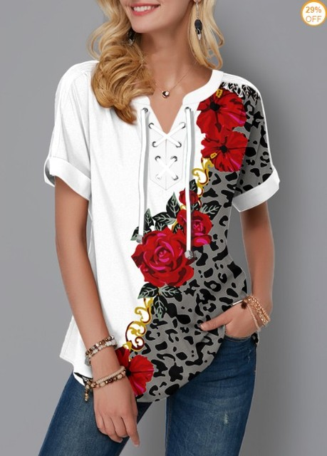 Plus Size 4xl 5x Pullovers Blouse shirt Boho Print Lace Splice Women's Tops V-neck Loose 2020 Casual Summer New Female Tee Shirt 3