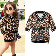 1-6Y Children's Clothing Cute Toddler Baby Girl Dress Autumn Leopard Print Long Sleeve Belt Party Straight Dress Casual Wear(China)