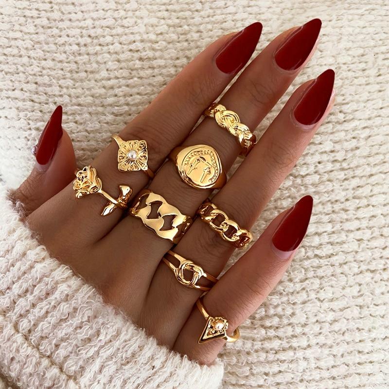 Modyle 8 Pcs/set Boho Virgin Mary Gold Rings for Women Heart Fatima Hands Anillos Cross Chain Geometric Jewelry