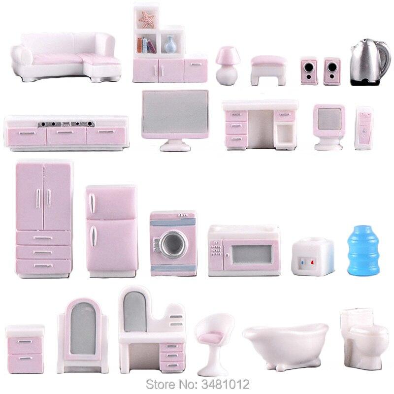 Casa de bonecas em miniatura conjunto de móveis para bonecas casa mini brinquedo kit acessórios tv cozinha geladeira casa crianças fingir jogar estatueta diy
