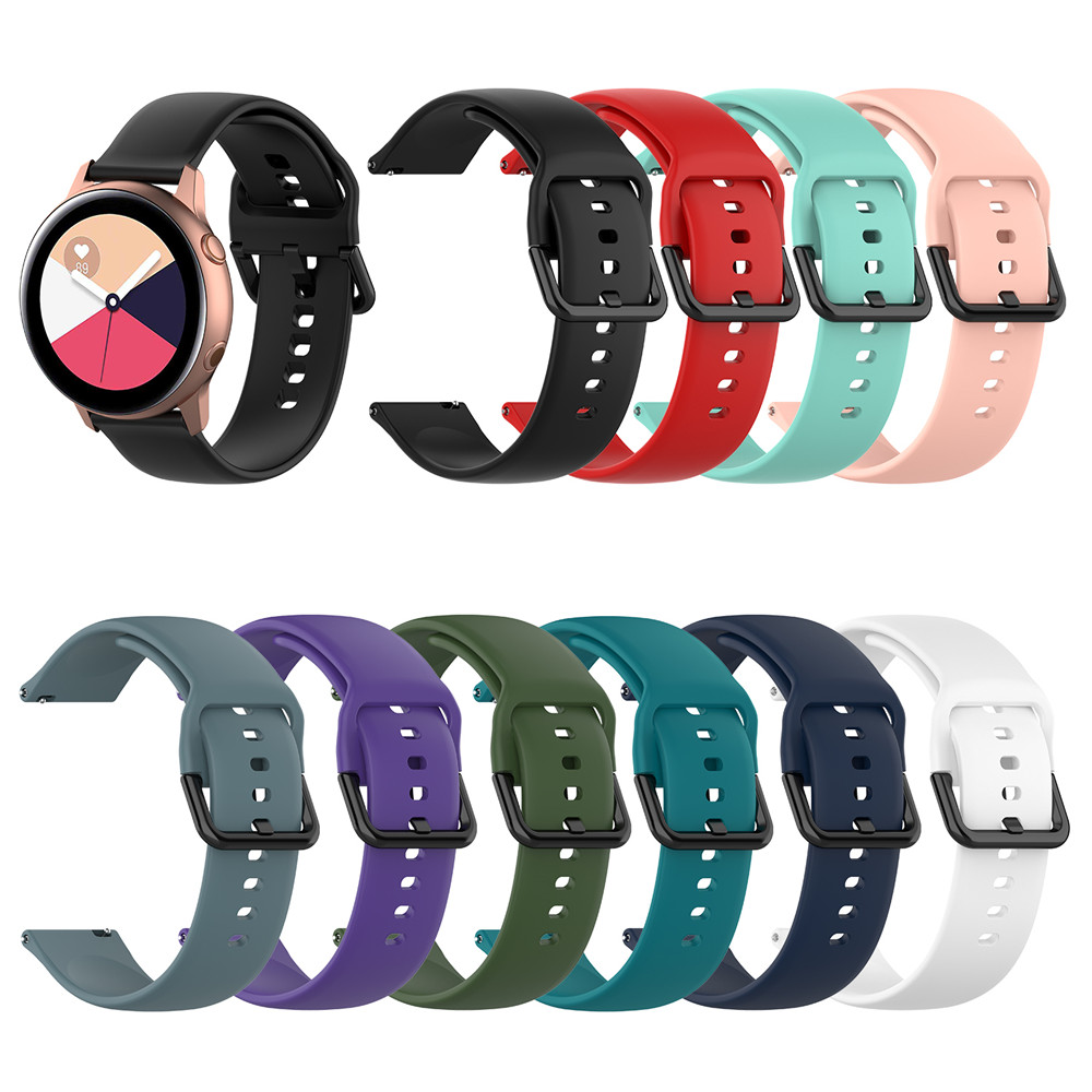 20mm Silicone Watchband For Samsung Galaxy Active 2 40mm 44mm Gear S2 Sport Wrist Band Strap For Galaxy Watch 42mm Huami Amazfit