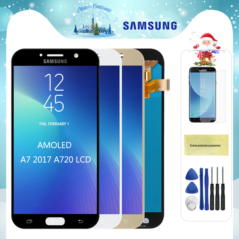 Original Super AMOLED <font><b>LCD</b></font> For <font><b>Samsung</b></font> <font><b>Galaxy</b></font> <font><b>A7</b></font> 2017 A720 A720F A720M LCDs Touch <font><b>Screen</b></font> Digitizer Assembly Replacement For A720 image