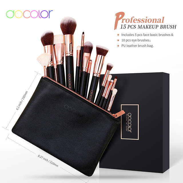 Docolor Rose Gold Makeup brushes set Professional Natural goat hair brushes Foundation Powder Contour Eyeshadow make up brushes 4