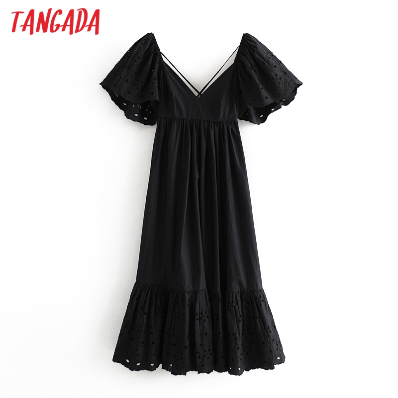 Tangada women black embroidery cotton dress short sleeve backless females maxi long dresses vestidos 3H647