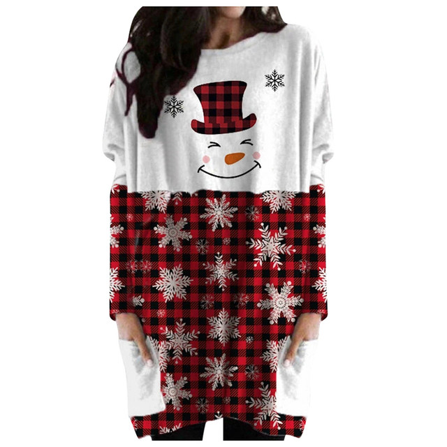 Hot Sale Women's Christmas Color Matching Print Long-sleeved Sweatshirt Casual Blouse Winter Korean Style Hoodies Women F 5