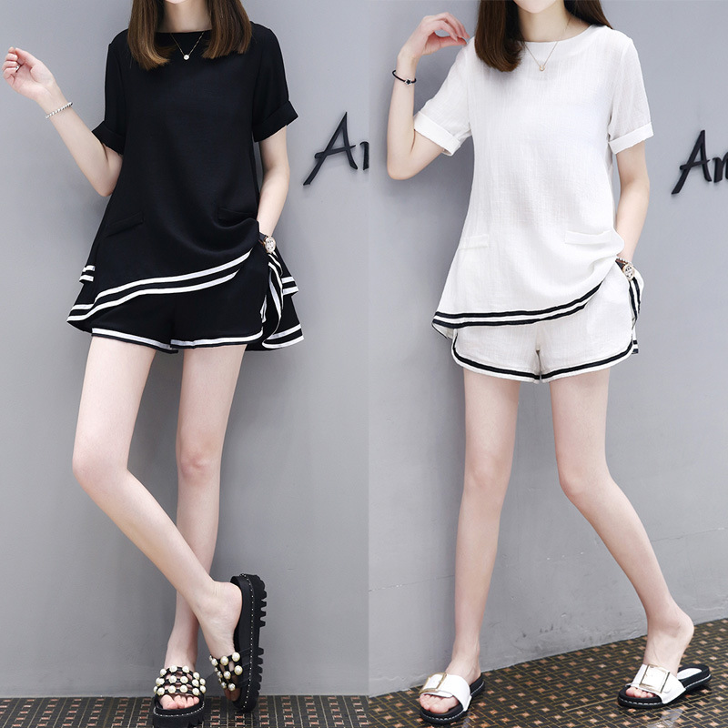 Ozhouzhan 2019 Summer New Style WOMEN'S Dress Large Size Loose Cotton Two-Piece Set Casual Short Sleeve Shorts Sports Set