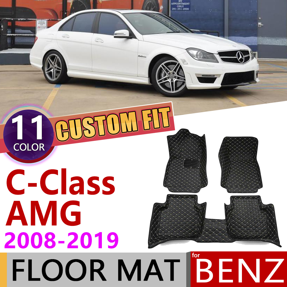 Custom Leather Car Floor Mat for Mercedes Benz C Class AMG W204 W205 2008~2019 5seats Foot Pad Carpet Accessories C63 2009 2010 image