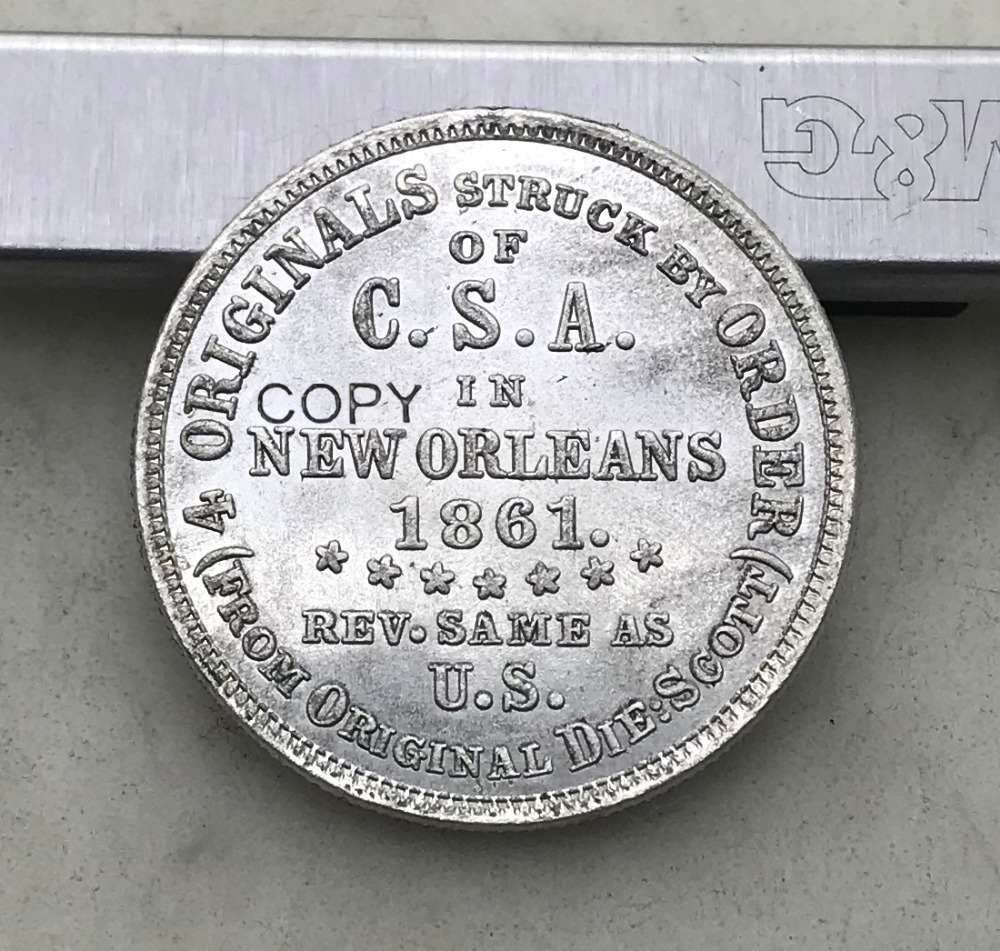 CONFEDERATE United Sates Of America 1861 Half Dollar NEW ORLEANS Brass Silver Plated Copy Coins image