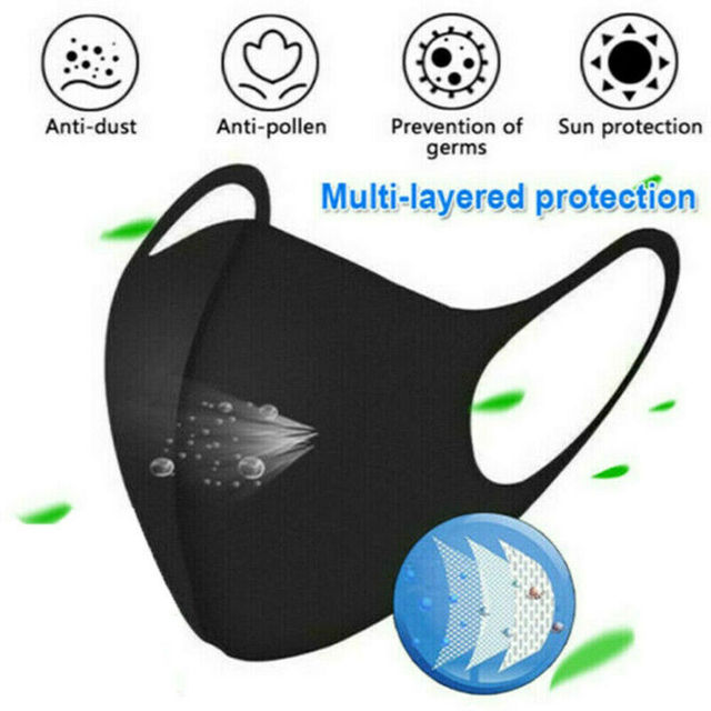 1Pcs Cotton PM2.5 Black Mouth Mask Anti dust Mask Activated Carbon Filter Windproof Mouth-muffle Bacteria proof Flu