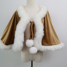 Velvet Lady Wraps Opera Cape Short Tippet Women Stoles with White Fur for Maternity Photography Accessories Baby Shower  Gift