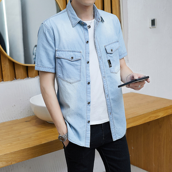 2020 Summer Fashion Blue Jeans Shirt Men Short Sleeve Cotton Solid Casual Shirts Male Denim Shirt Slim Fit 1