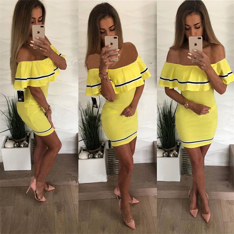 H6af08533d08f48e09a719221092e8921a - Off Shoulder Slash Neck Sexy Autumn Party Dress Striped Ruffles Short Sleeve Summer Dress Women Plus Size Casual Beach Vestidos