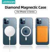 Joyroom-funda de teléfono magnética transparente para iPhone 12 Pro Max 12, Mini funda para cargador inalámbrico, cubierta trasera transparente de PC