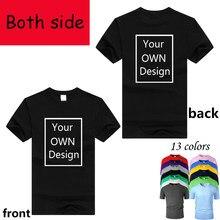 13 cores personalizadas dos homens e das mulheres diy algodão t camisa de manga curta casual camiseta seu próprio design com dois lados logotipo/imagem/letras