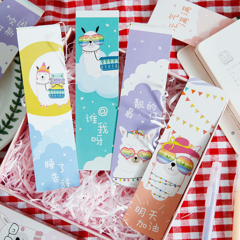 30Pcs/Box Cute Alpaca Bookmarks Kawaii Cartoon Bookmark Novelty Paper Book Mark For Kids Gifts School Office Supplies Stationery