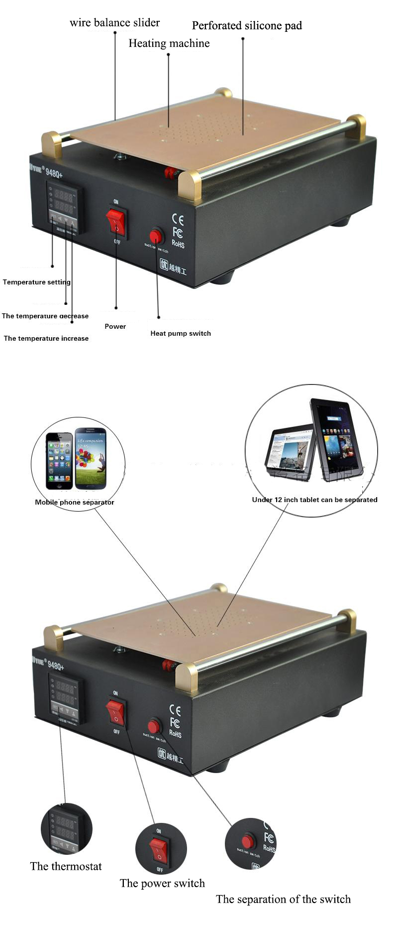 Tools : Max 11 inches Built-in Vacuum Pump Mobile phone LCD Screen Separator Machine Glass Touch Screen Refurbished Uyue 948Q