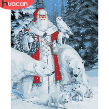 HUACAN DIY Oil Painting By Numbers Santa Claus Pictures Paint On Canvas Hand Painted Drawing Christmas Arts Home Decor