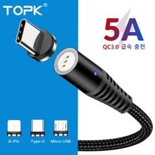 Магнитный usb-кабель TOPK 5A для быстрой зарядки, кабель USB type-C, Магнитный зарядный кабель Micro usb для iPhone X, samsung, Xiaomi