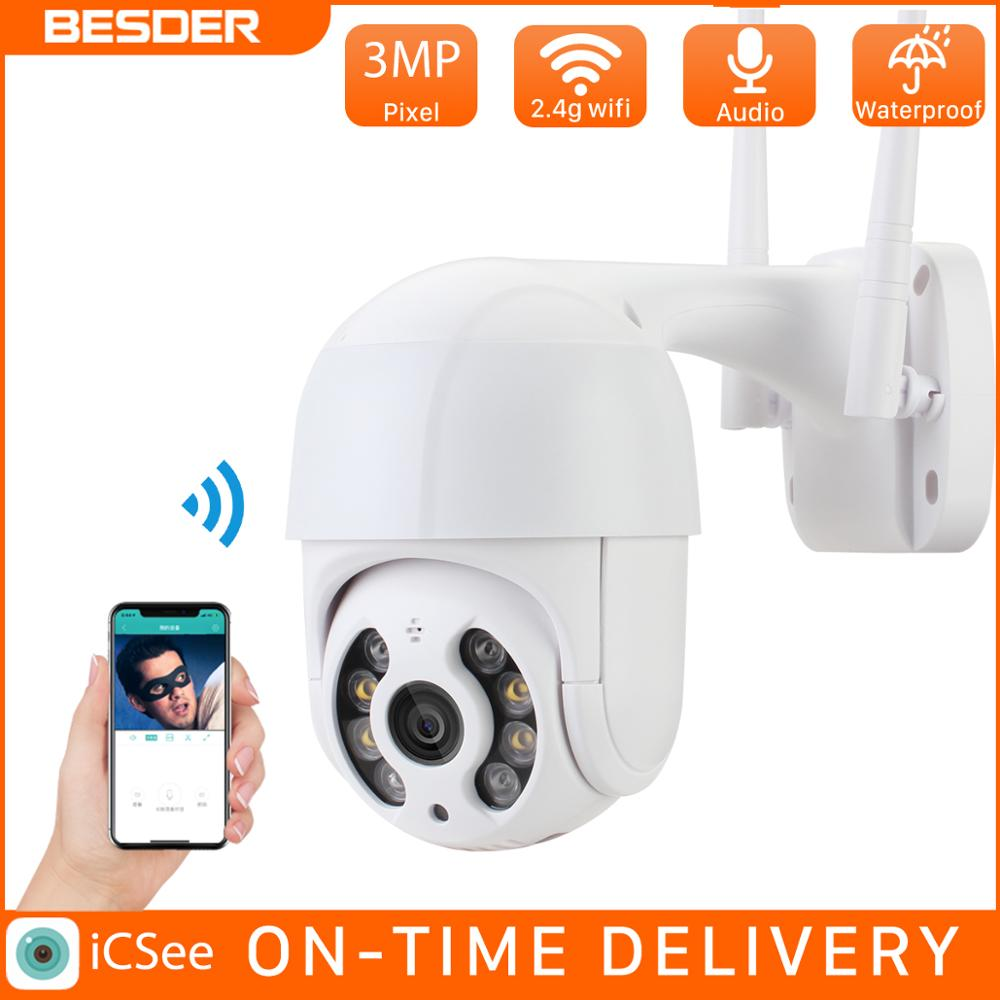 BESDER 3MP PTZ WiFi Della Macchina Fotografica di Movimento Due Voice Alert Umano Detection Outdoor IP Camera Audio Visione Notturna di IR Video CCTV surveillan