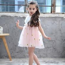 Vgiee Kids Dresses for Girls Children's Costumes Pineapple Print Mesh Girls Summer Dress kids pineapple print tie dress